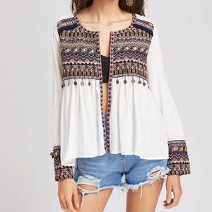 SHEIN embroidered boho coin trim shirt size small